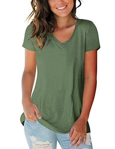 Sleeve Top V-neck Solid Short - liher Womens Tops Solid Color V Neck Short Sleeve Basic Tee Shirts