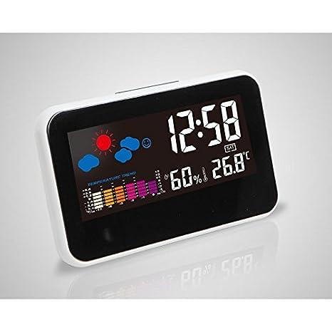 Shuangklei Reloj Despertador Digital Estación Meteorológica Reloj De Sobremesa Con Gran Pantalla Lcd De Retroiluminación: Amazon.es: Hogar