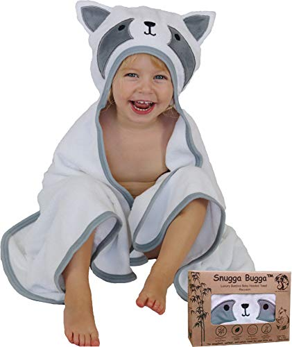 Luxury Bamboo Hooded Baby Towel | Extra Soft for Newborn, Infant, Toddler and Kids | Great for Boys and Girls at Bath, Pool and Beach | Cute Raccoon Animal Face | Baby Shower Gift | Photo Shoot Props