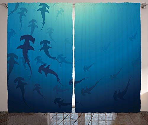 Red Vow Royal Blue Curtains Sea Animals Decor, Hammerhead Shark School Ocean Dangerous Predator Wild Nature Picture, Curtain for Bedroom Living Room 2 Panel Set, 54