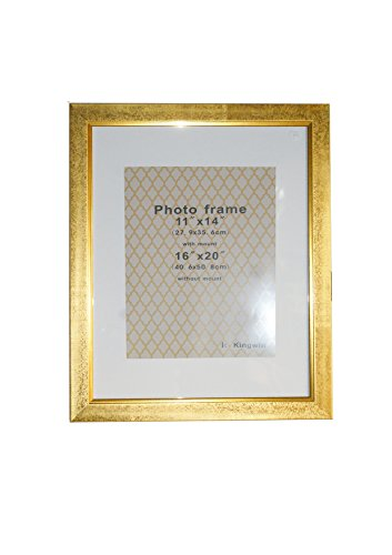 Kingwin Picture Frame PF41007 Gold with White Mat (16''x20'', - Large Frames Gold