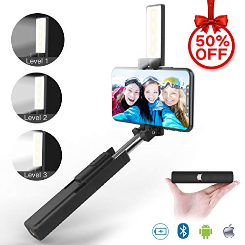 Selfie Stick, Jopree 2 in 1 Bluetooth Mini Selfie Stick with LED Light [3 Brightness Levels], Built-in Bluetooth Remote Phone Selfie Stick【Lovely Lipstick Appearance】 for iPhone and Android Phones