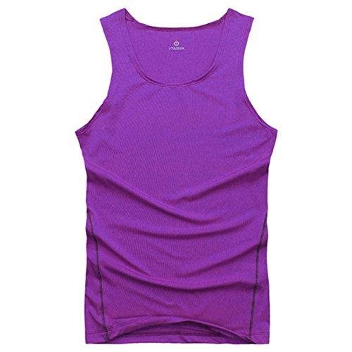 Urparcel Mens Tight Sports Training Gym Summer Vest Shirt Tops Purple Large