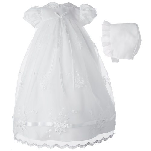 Lauren Madison baby girl Newborn Christening Baptism Embroidered Gown , White, 6-9 Months by Lauren Madison