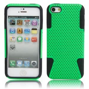 2 In 1 Net Shell Style Silicone Protective Case for iPhone 5/5S Green + Black