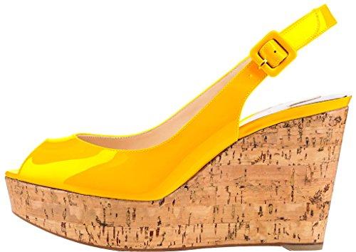 Trusify Mujer 10cm EU tamaño 34-46 Truabsent Tacón ancho 10CM Sintético Sandalias de vestir Amarillo