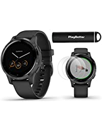 Garmin vivoactive 4S (Slate/Black Band) Fitness Smartwatch Power Bundle   2019 Model   with HD Screen Protectors (x4) Portable Charger   Spotify, Music, Garmin Pay, Menstrual Tracking