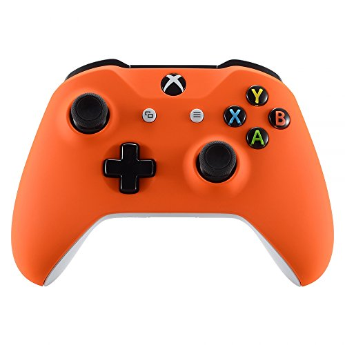 (eXtremeRate Orange Faceplate Cover, Soft Touch Front Housing Shell Case, Comfortable Soft Grip Replacement Kit for Microsoft Xbox One X & One S)