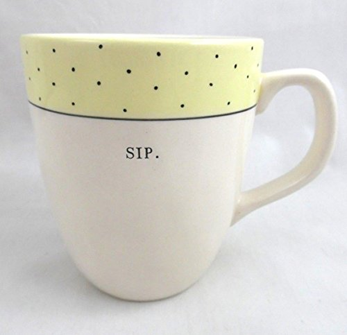 Rae Dunn Artisan Collection Mug SIP Yellow Rim with Polka - Collection Rims Le