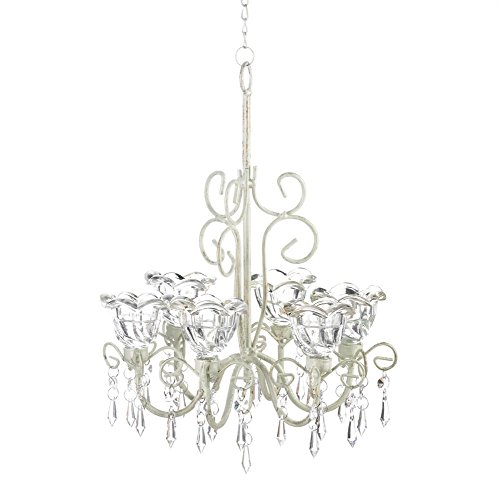 Hanging Chandelier Candle, Metal Decorative Candle Chandelier White For Light by Gallery of Light