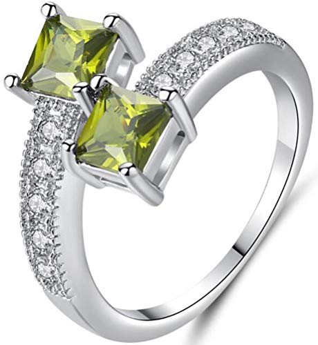 TEMEGO CZ Bypass Ring - 14k Silver Princess Cut Green Crystal 2 Row Small CZ Micro Pave Ring,Size 7 ()