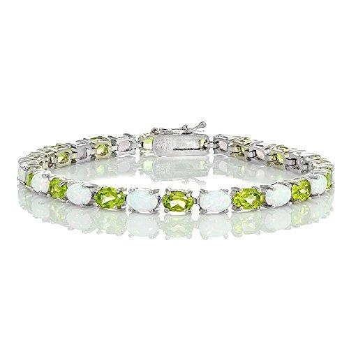 Bracelets Opal Oval (Ice Gems Sterling Silver Peridot and Created White Opal 6x4mm Oval Tennis Bracelet)