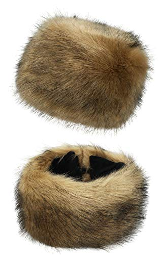 Lovful Faux Fur Women Russian Cossak Hat,Scarf Set for Ladies Winter,Hat Set_Camel