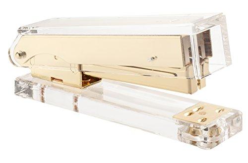 KAIYEE Stylish Gold & Clear Acrylic Desktop Office Pretty Stapler (Large Image)