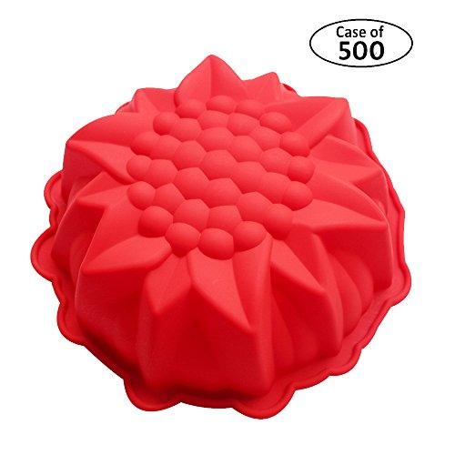 Case of 500pcs,BAKER DEPOT Big Round Sunflower Silicone Mold for Cake Making Bakeware Red Color