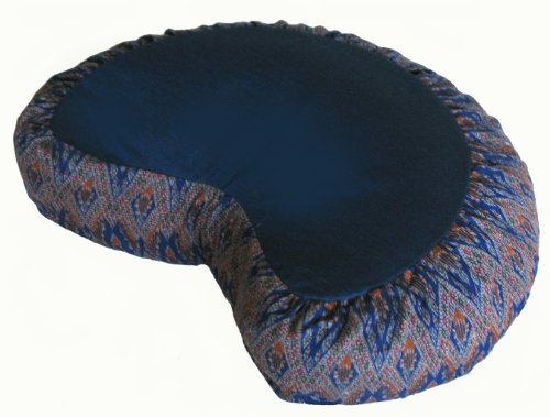 Meditation Cushion Crescent Zafu - Diamond Ikat Blue