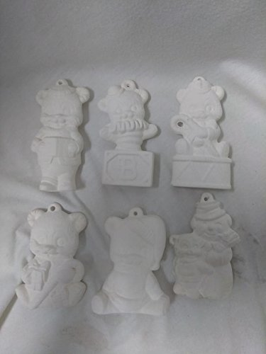 Bear Christmas Asst #2 Ornaments set of 6 ready to paint ceramic bisque