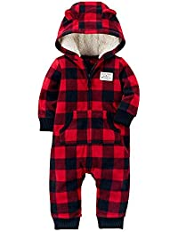 Baby Boys' 1 Piece Check Gingham Fleece Jumpsuit