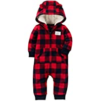 Baby Boys' One Piece Checker Print Fleece Jumpsuit