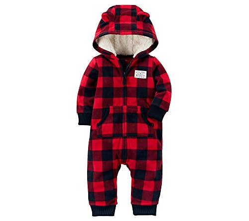 - Carter's Baby Boys' One Piece Checker Print Fleece Jumpsuit 12 Months,12 Months,Red/Black  Plaid