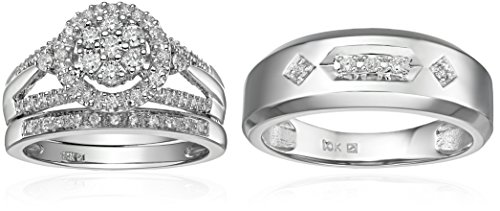 10k White Gold Diamond Trio Wedding Ring Set (1/2cttw, I-J Color, I2-I3 Clarity)