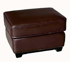 full leather ottoman footstool dark brown kitchen dining. Black Bedroom Furniture Sets. Home Design Ideas