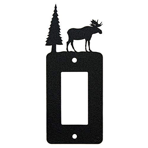 (Moose & Cabin Single Gang Light Switch, GFCI Power Outlet, Wall Plate (Single Rocker (GFCI), Black))