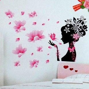d dibujos animados nias decoracin pared rosa flor hada pared cabecera vinilo adhesivo