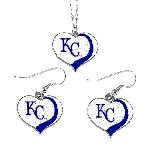 Kansas City Royals Charm - aminco Kansas City Royals MLB Sports Team Logo Charm Gift Glitter Heart Necklace and Earring Set