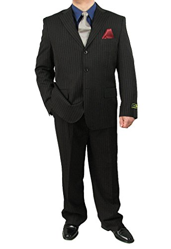 Sharp 2-Piece Men's 3-Button Stripe Suit Dress Suit - Black 42S (3 Button Black Pinstripe Suit)