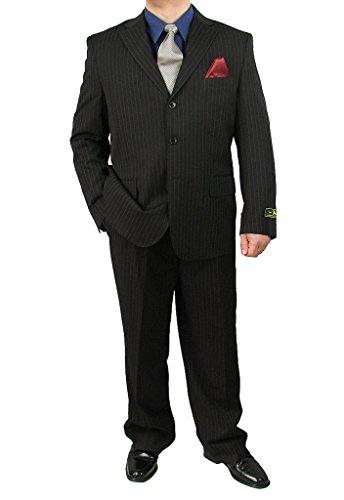Sharp 2-Piece Men's 3-Button Stripe Suit Dress Suit - Black 42S