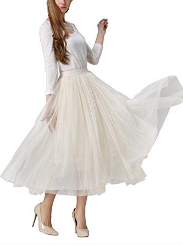Moda Falda Plisada Elástica Debaijia Fiesta Cintura Mujer Para Malla Noche Tul Larga De Beige Tutu xzSSTq