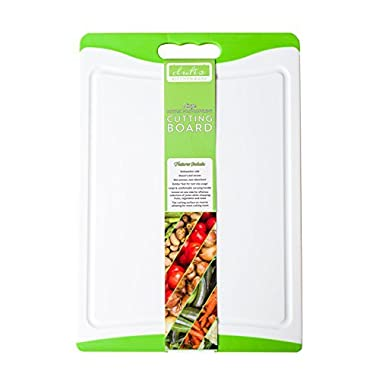Dishwasher Safe Large Plastic Cutting Board With Non-Slip Silicone Edges and Drip Juice Groove. Acrylic Polypropylene White With Lime Green a Beautiful Cutting Board by Dutis Kitchenware
