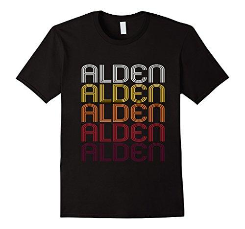 Men's Alden Retro Wordmark Pattern - Vintage Style T-shirt Medium Black (Pattern Alden)