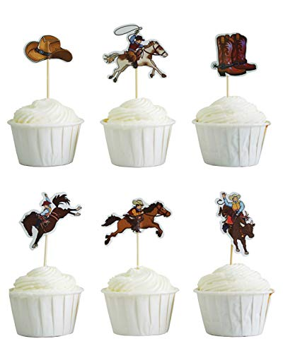 BeBeFun Cupcake Decorative Toppers Cake Toppers Cowboy Rodeo Theme Toppers Cupcake Decorating Tools for Wedding Birthday Party Supplies 24 Pieces in Pack. (Cowboys) -