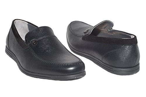 Giovanni Conti 3462-06 Italian mens black leather loafers with suede trimming KDH3vBR