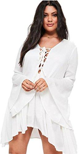 Plus Size Peasant Dresses (Long Sleeve Lace Up V Neck Front Irregular Hem Pleated Bell Trumpet Sleeve Mini Trapeze Dress White US 18)