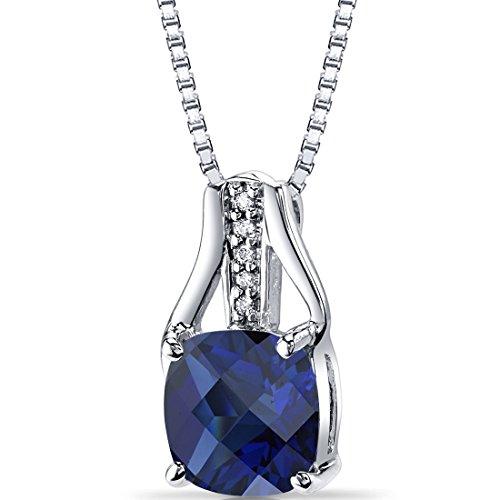 Revoni Bague en or blanc 14carats Pendentif diamant Saphir Coupe Coussin Damier 3Cts Total