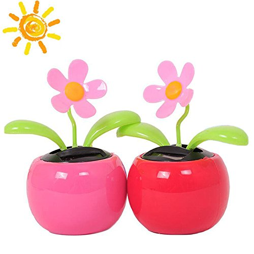 funwill Solar Dancing Flower Flip Flap, 2 PCS Assorted Colors, Solar Toys Daisy Flower for Home Office Car