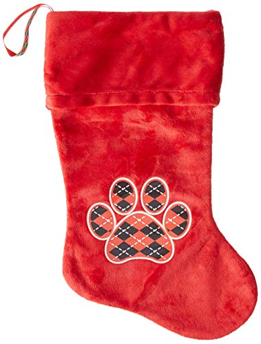- Mirage Pet Products Argyle Paw Red Screen Print Velvet Christmas Stocking Red, 18