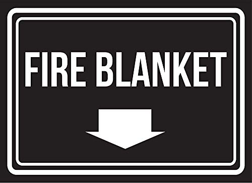 Warning Sign Metal Tin Sign - Fire Blanket Black and White Business Commercial Safety Warning Sign 12 x 8 inches