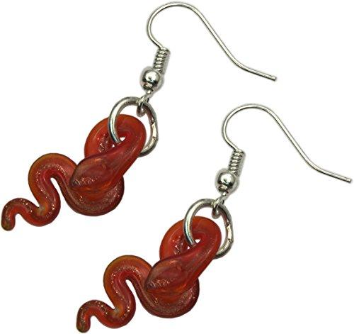 Earrings, Murano Style Lampwork Red Snake Dangle Earrings + FREE GIFT BAG