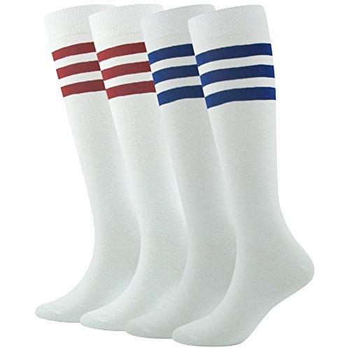 Tube Socks White, SUTTOS Men Knee High Football Soccer Team Long Socks,Athletic Socks for Back to School Gift 4 Pairs]()