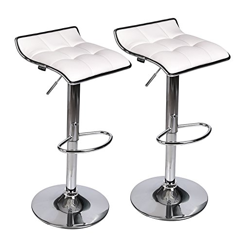Adjustable Swivel Barstools, PU Leather with Chrome Base, Counter Height Hydraulic Pub Chairs, Set of 2, White
