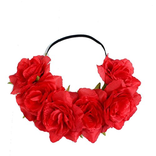 Vovotrade Bohemia Large Rose Flower Forehead Hair Headband Hair Crown Summer Festival Garland - Bands Ray Red