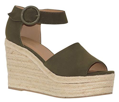 MVE Shoes Women's High Heeled Espadrille Platform Sandal, Fabia Khaki NBPU 9