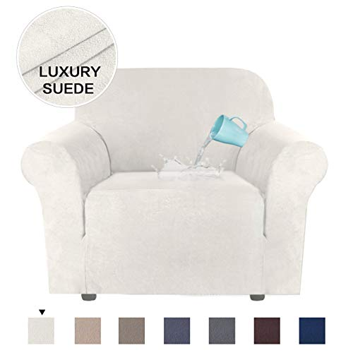 H.VERSAILTEX Stretch Chair Slipcovers Water Repellent Sofa Covers 1 Piece Furniture Protector Luxury High Spandex Soft Brush Fabric Rich Suede Sofa Cover (Chair-1 Seater, Ivory) (Cheap Furniture Luxury)