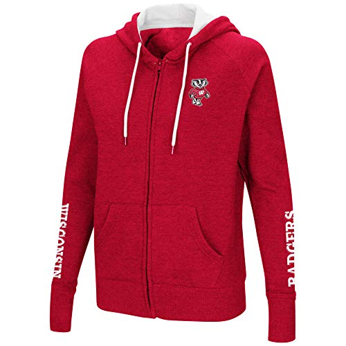 (Colosseum Women's NCAA-Contract-Cotton/Poly-Fleece Full Zip Up Hoodie Sweatshirt-Wisconsin Badgers-Heathered Cardinal-Small)