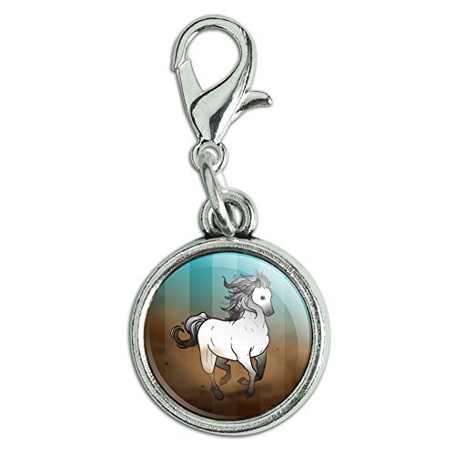 Mustang Horse Charm - Graphics and More Horse Wild Mustang Running Antiqued Bracelet Pendant Zipper Pull Charm with Lobster Clasp