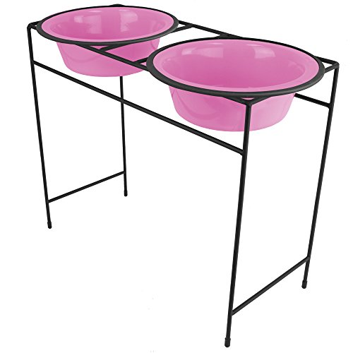 Platinum Pets Double Diner Feeder with Stainless Steel Dog Bowls, 10 cup/80 oz, Cotton Candy Pink Review